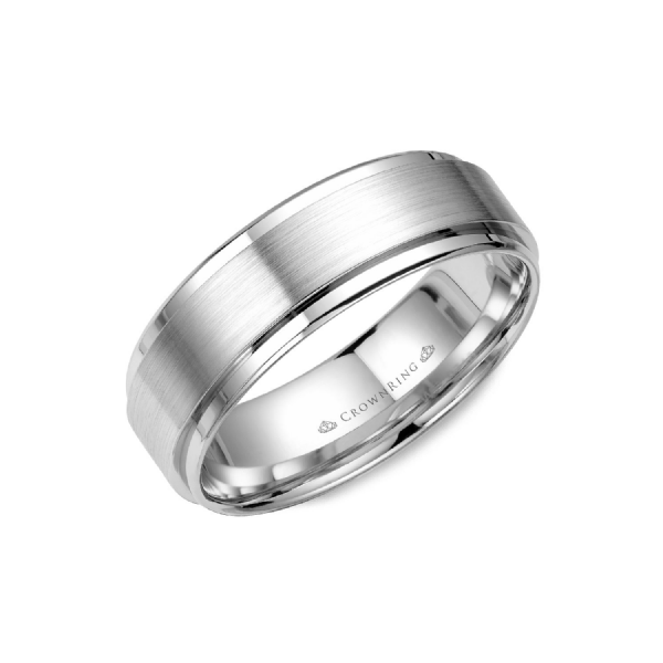 Crown Ring Men's 14K White Gold 7 mm Wedding Band SVS Fine Jewelry Oceanside, NY