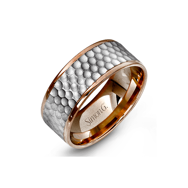 Simon G. Men's 14K White & Rose Gold Wedding Band SVS Fine Jewelry Oceanside, NY