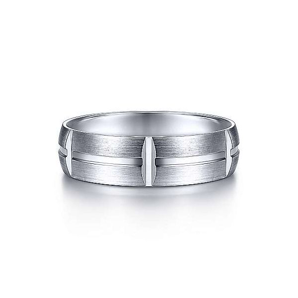 Gabriel Levi Men's 14K White Gold Wedding Band SVS Fine Jewelry Oceanside, NY