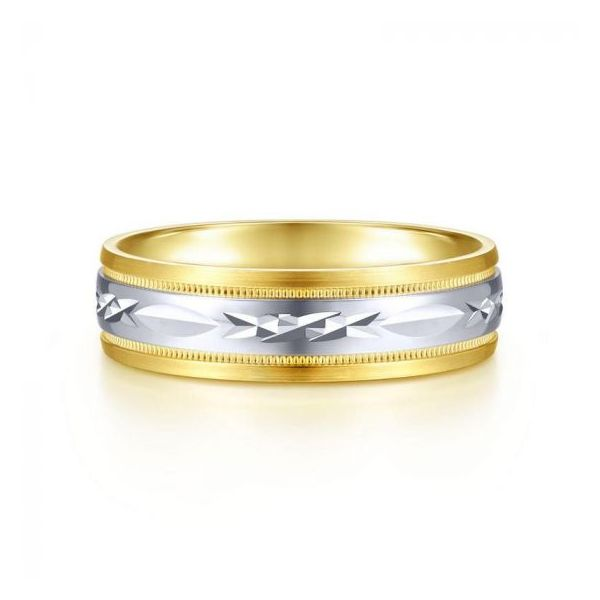 Gabriel Christopher Men's White & Yellow Gold Wedding Band SVS Fine Jewelry Oceanside, NY