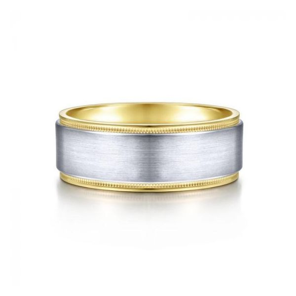 Gabriel Liam Men's White & Yellow Gold Wedding Band SVS Fine Jewelry Oceanside, NY