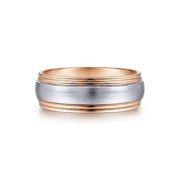 Gabriel Derek Men's White & Rose Gold Wedding Band SVS Fine Jewelry Oceanside, NY