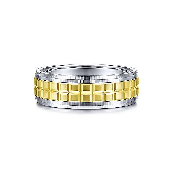 Gabriel Axel Men's White & Yellow Gold Wedding Band SVS Fine Jewelry Oceanside, NY