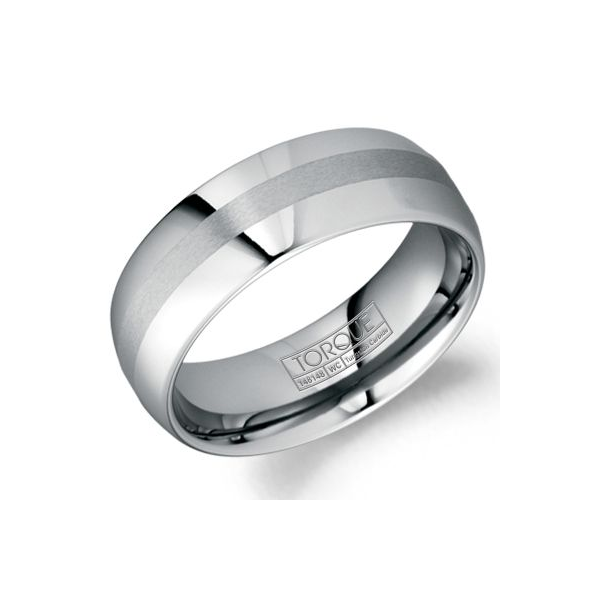 Crown Ring Men's Grey Tungsten Carbide Wedding Band SVS Fine Jewelry Oceanside, NY