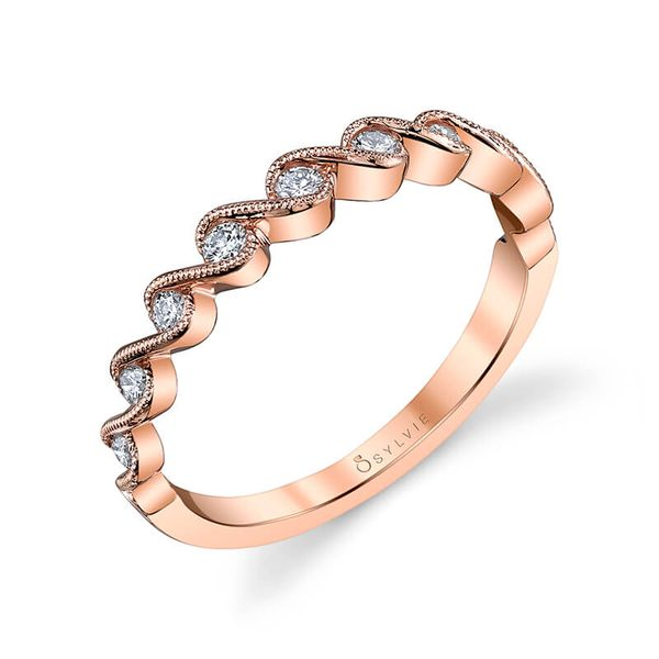 Sylvie Hélèna 14K Rose Gold Wedding Band, 0.21Cttw SVS Fine Jewelry Oceanside, NY