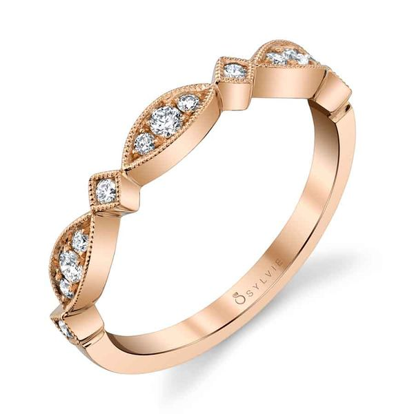 Sylvie Samantha 14K Rose Gold Wedding Band, 0.17Cttw SVS Fine Jewelry Oceanside, NY