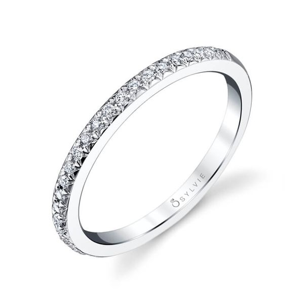 Sylvie 14K White Gold Wedding Band, 0.14Cttw, Size 6.5 SVS Fine Jewelry Oceanside, NY