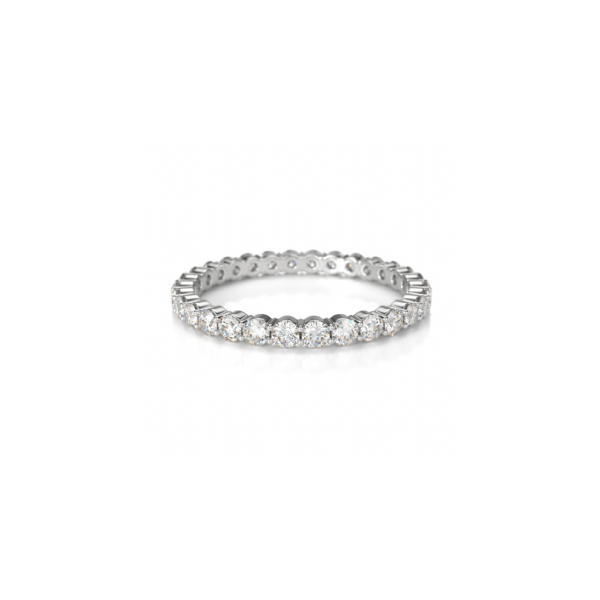 Crown Ring 14K White Gold & Diamond Eternity Band SVS Fine Jewelry Oceanside, NY
