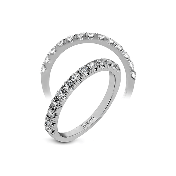 Simon G. 18K White Gold Diamond Wedding Band SVS Fine Jewelry Oceanside, NY