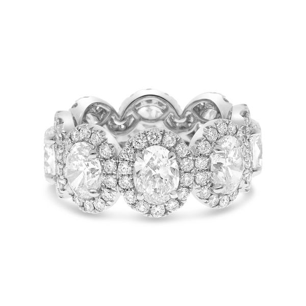 Platinum Oval Diamonds With Halos Eternity Ring, 7.11Cttw SVS Fine Jewelry Oceanside, NY