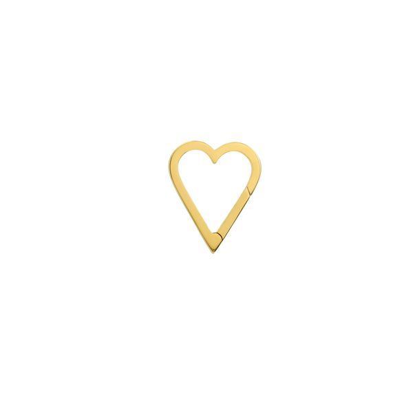 14K Yellow Gold Plain Open Heart Push Lock SVS Fine Jewelry Oceanside, NY