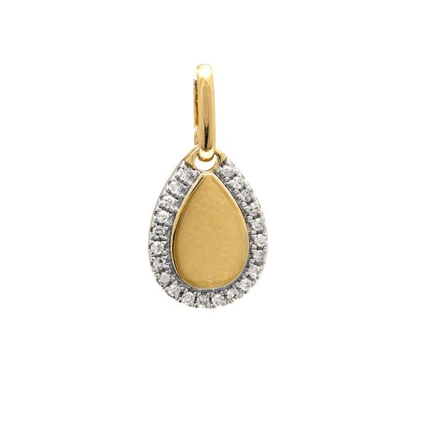 14K Yellow Gold Pave Diamond Pear Shaped Pendant SVS Fine Jewelry Oceanside, NY