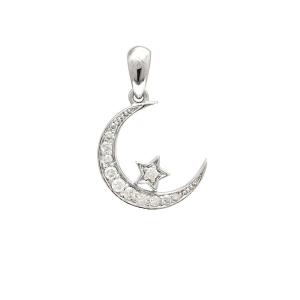 14K White Gold Pave Diamond Star And Moon Pendant SVS Fine Jewelry Oceanside, NY