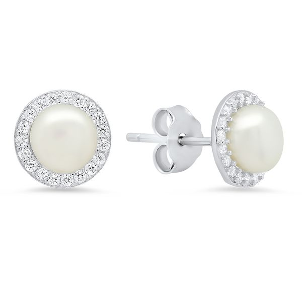 Sterling Silver, 6 mm Pearl, and CZ Halo Earrings SVS Fine Jewelry Oceanside, NY