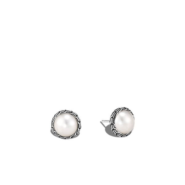 John Hardy Chain Collection Silver & Freshwater Pearl Studs SVS Fine Jewelry Oceanside, NY