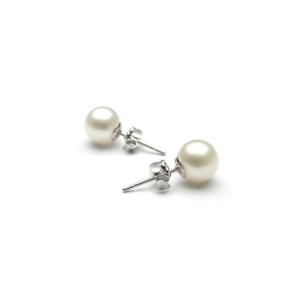 White Gold 8 - 8.5 mm AAA Fresh Water Pearl Earrings SVS Fine Jewelry Oceanside, NY