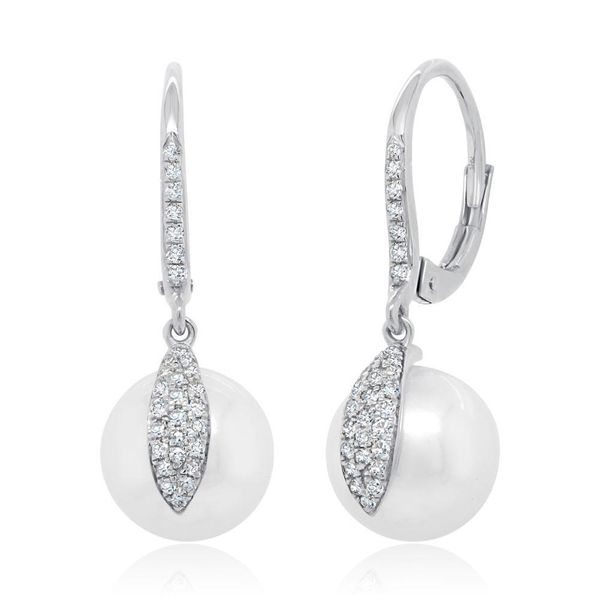 Shy Creation 14K White Gold, Diamond, & Pearl Earrings SVS Fine Jewelry Oceanside, NY