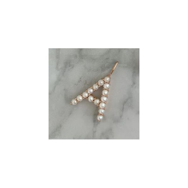 SVS Fine Collection Rose Gold Pearl Initial A Charm SVS Fine Jewelry Oceanside, NY