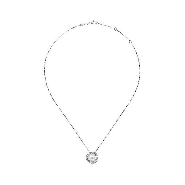 Gabriel & Co. White Gold Pearl Diamond Halo Necklace Image 2 SVS Fine Jewelry Oceanside, NY