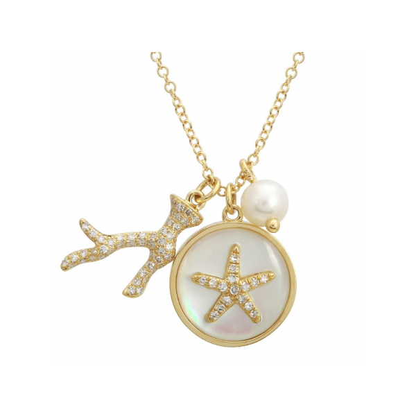 14K Yellow Gold, Diamond, Shell, & Pearl Sea Life Necklace SVS Fine Jewelry Oceanside, NY