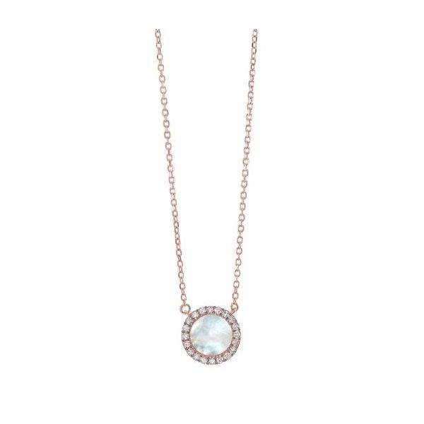 Diamond & Mother of Pearl Circle Halo Pendant Necklace SVS Fine Jewelry Oceanside, NY
