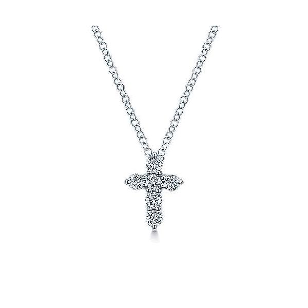 Gabriel & Co. Faith White Gold Diamond Cross Necklace SVS Fine Jewelry Oceanside, NY