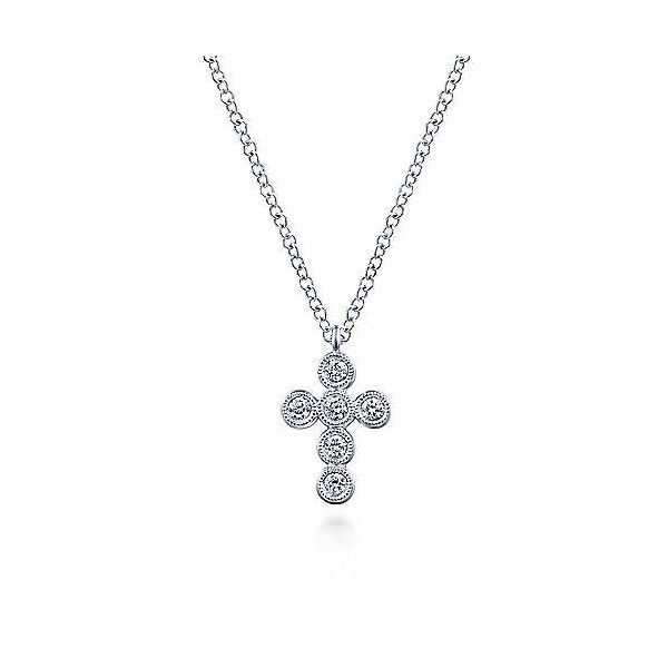 Gabriel & Co. Faith 14K White Gold Diamond Cross Necklace SVS Fine Jewelry Oceanside, NY