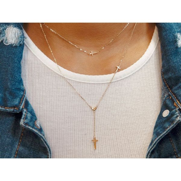 14K Yellow Gold Cross Station Necklace, 16+2