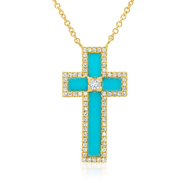 Shy Creation 14K Yellow Gold, Diamond, And Turquoise Cross SVS Fine Jewelry Oceanside, NY