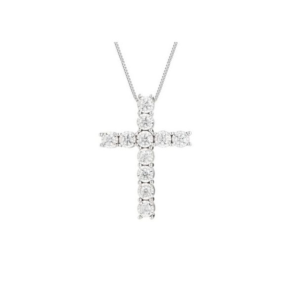 14K White Gold and Diamond Cross Pendant, 0.25Cttw, 18