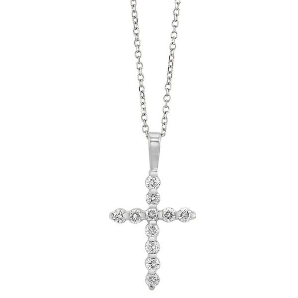 14K White Gold & Diamond Cross, 0.10Cttw, 18