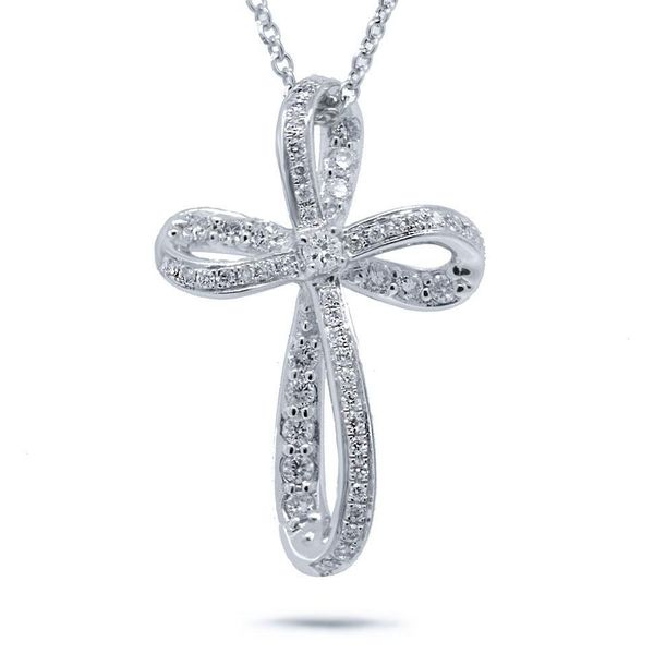 Shy Creation White Gold Diamond Cross Necklace SVS Fine Jewelry Oceanside, NY