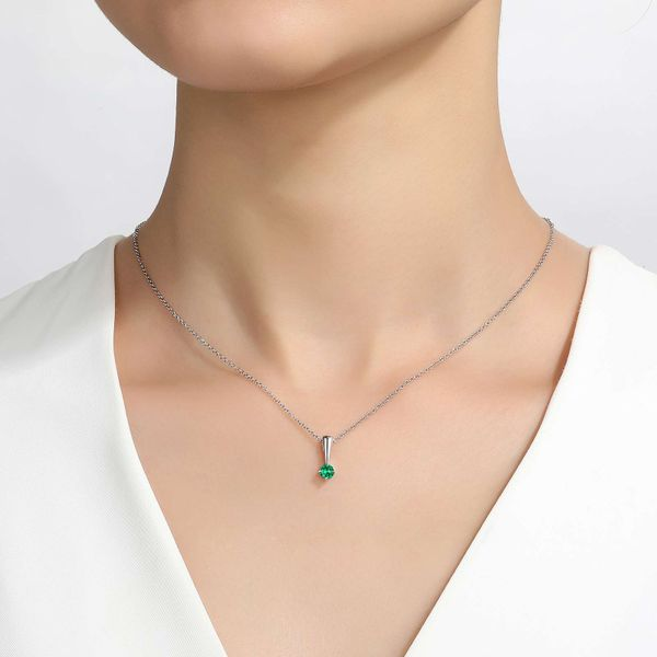 Lafonn May Emerald Birthstone Love Pendant Image 2 SVS Fine Jewelry Oceanside, NY