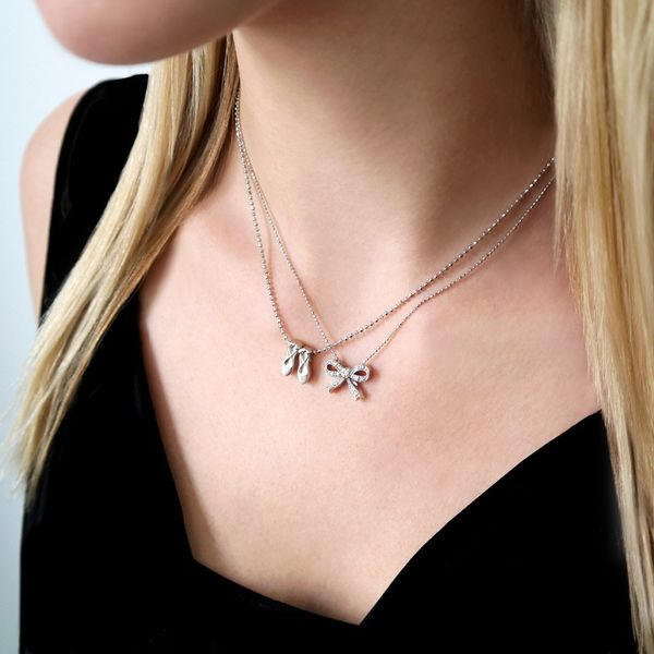 Alex Woo Little Princess Sterling Silver Bow Necklace Image 2  ,