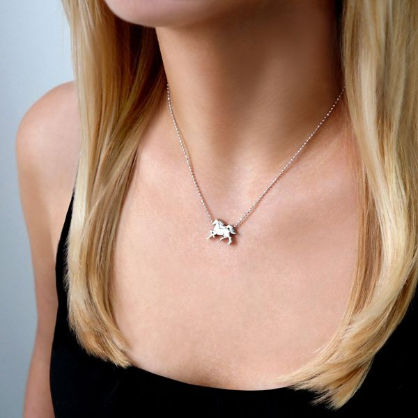 Alex Woo Little Signs Sterling Silver Horse Necklace Image 2  ,