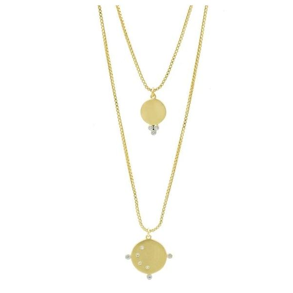 Freida Rothman Celestial Double Orbit Pendant Necklace SVS Fine Jewelry Oceanside, NY