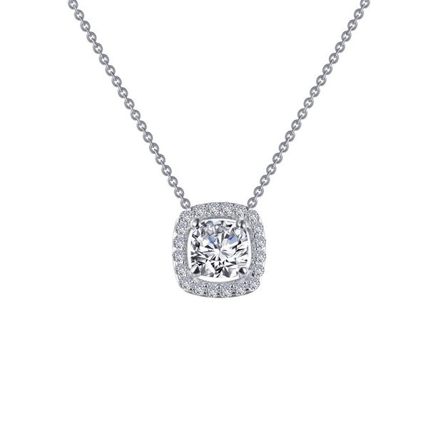 Lafonn Silver Cushion Halo Necklace, 18