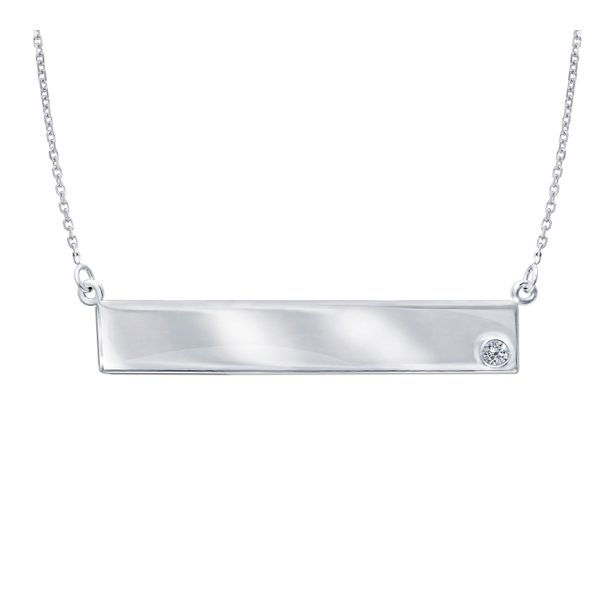 Sterling Silver Cubic Zirconia Engravable Bar Necklace, 18
