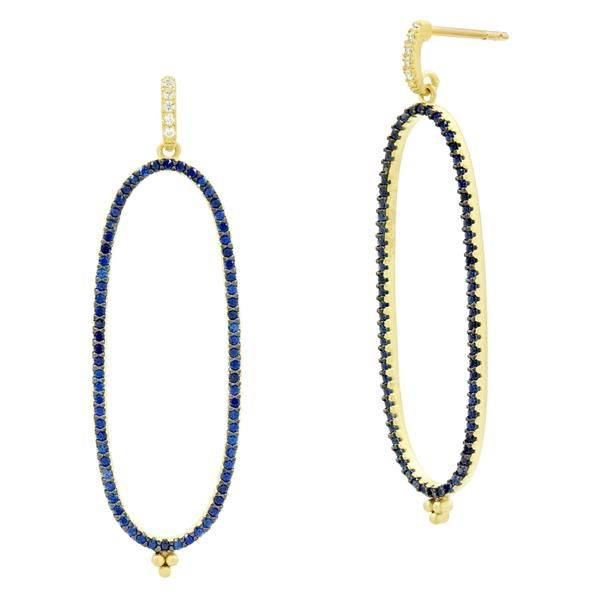 Freida Rothman Midnight Pavé Linear Hoop Earrings SVS Fine Jewelry Oceanside, NY