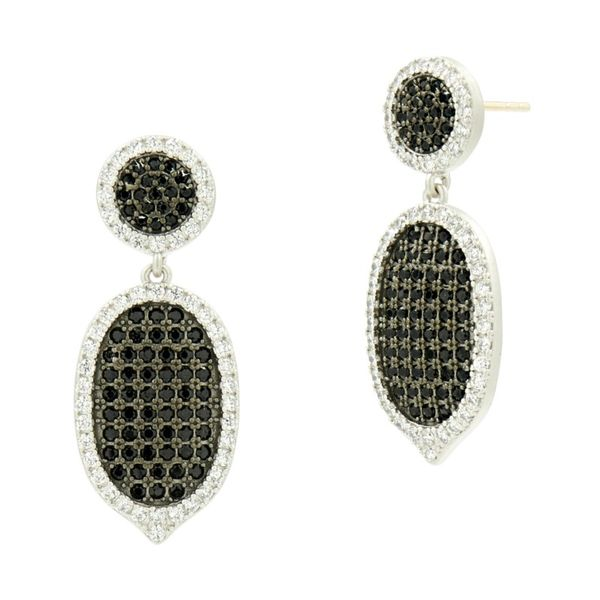 Freida Rothman Industrial Finish Pave Short Drop Earrings SVS Fine Jewelry Oceanside, NY