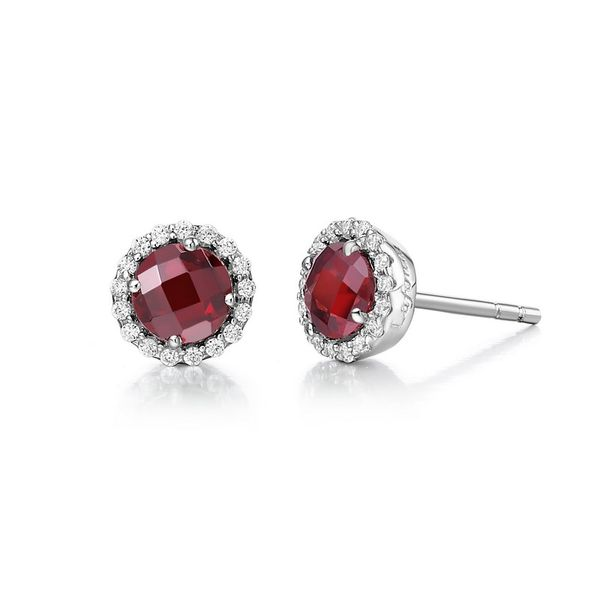 Lafonn Silver Birthstone Earrings - January - Garnet SVS Fine Jewelry Oceanside, NY