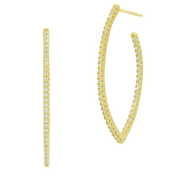 Freida Rothman Allover Pointed Oval Pave Hoop Earrings SVS Fine Jewelry Oceanside, NY