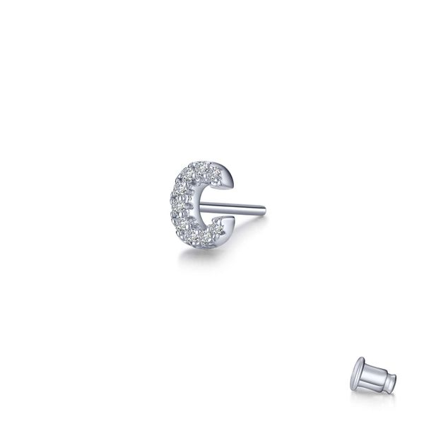 Lafonn Single Initial C Stud Earring, 0.18Cttw SVS Fine Jewelry Oceanside, NY