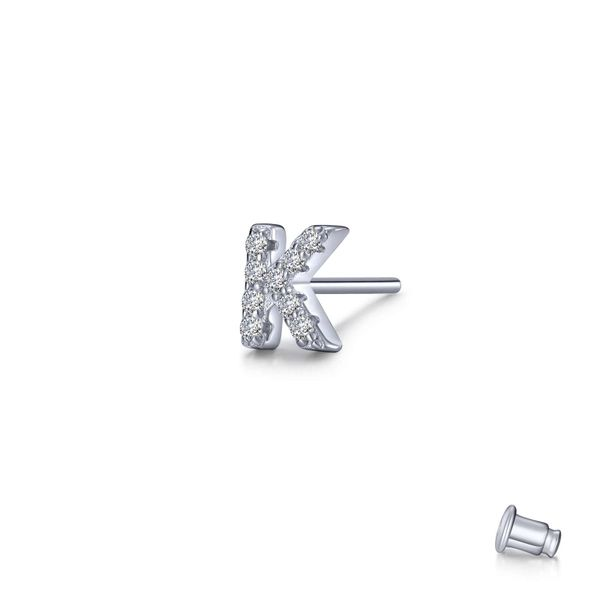 Lafonn Silver Single Letter K Stud Earring, 0.18Cttw SVS Fine Jewelry Oceanside, NY