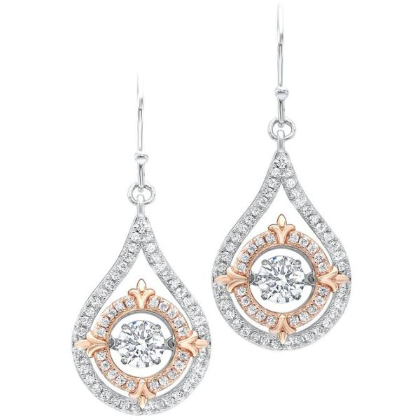 Rhythm of Love White & Pink Cubic Zirconia Dangle Earrings SVS Fine Jewelry Oceanside, NY