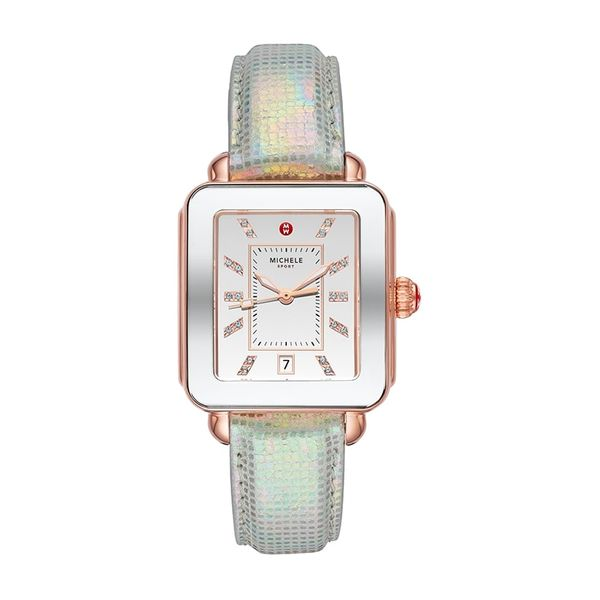 Michele Watch Deco Sport Pink Gold-Tone Aqua Topaz Dial Watch SVS Fine Jewelry Oceanside, NY
