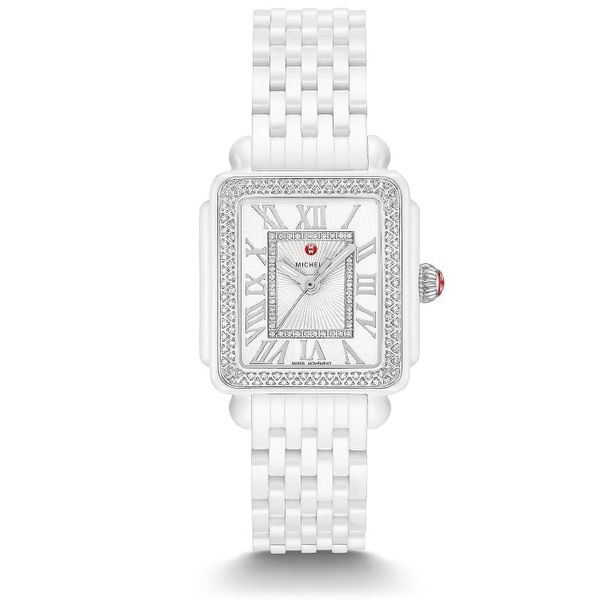 Michele Watch Deco Madison Mid White Ceramic Watch SVS Fine Jewelry Oceanside, NY