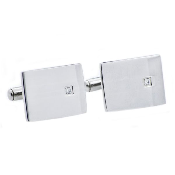 Men's Stainless Steel Cuff Links With Cubic Zirconia SVS Fine Jewelry Oceanside, NY