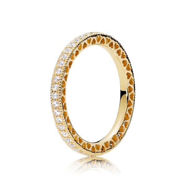 Pandora Signature Collection Yellow Gold Plated Silver Ring Image 2 SVS Fine Jewelry Oceanside, NY