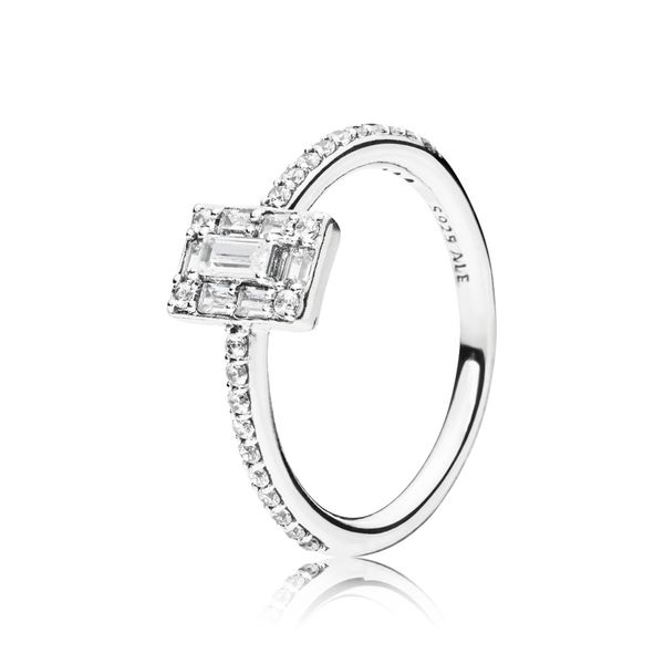 Pandora Timeless Collection Sterling Silver Square Halo Ring SVS Fine Jewelry Oceanside, NY